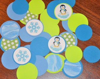 Confetti. Dots. Minis. Penguin Winter Wonderland Confetti Dots 125 pieces / Winter Onederland Choose Boy or Girl