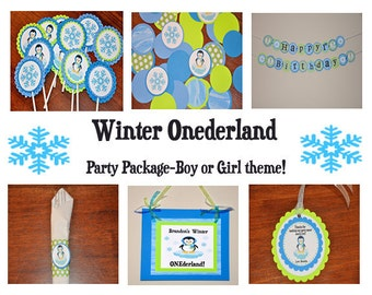 Penguin Winter Wonderland Party Package. First Birthday. 1st Birthday. Winter Onederland Choose Boy or Girl / Discount Given