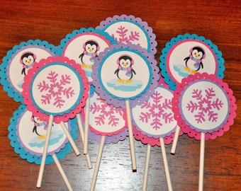 Cupcake Toppers: Penguin Winter Wonderland Cupcake Toppers Set of 12. First Birthday. 1st Birthday / Winter Onederland Choose Girl or Boy