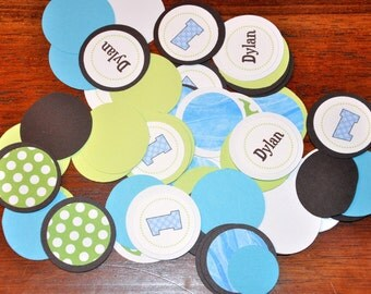 Confetti. Dots. Minis. Blue. Green. Personalized. Polka Dots. Set of 125 pieces.Coordinates with Puppy Collection in shop