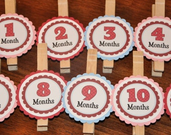 Photo Clips. Photo Banner. DIY Photo Banner. First Birthday. Polka Dots. Light Pink. Light Blue. Red