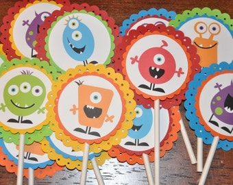 Monster Cupcake Toppers. Cupcake Picks. Monster. Set of 12. Bright Colors