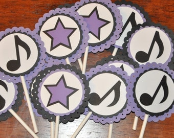 Cupcake Toppers. Stars. Music. Music Notes. Cupcake Picks. Black. Purple. Set of 12