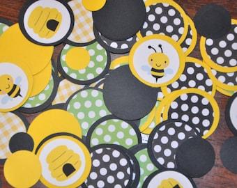 Bumble Bee Confetti. Minis. Dots. Handmade Confetti. 125 pieces. black. yellow. green. polka dots. bee. hive.