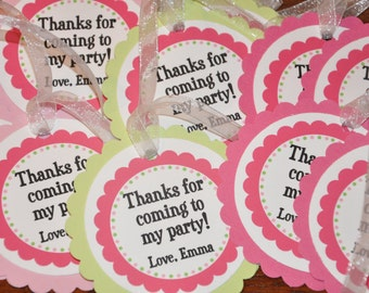 Favor Tags. Happy Birthday. Polka Dots. Pink. Green. Set of 12