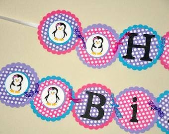 Happy Birthday Banner: Penguin Banner. Choose Boy or Girl. Penguin