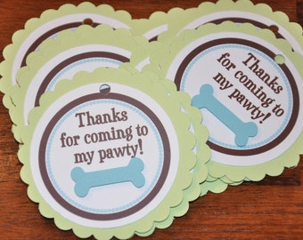 Puppy Favor Tags. Favor Tags. Dog Favor Tags. Woof. Bark. Blue. Green.  Dogbone. Birthday. Set of 12. No Ribbon