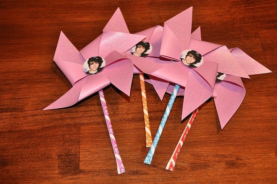 Justin Bieber Glitter Pixie Stix Pinwheels Party Favors Set of 10