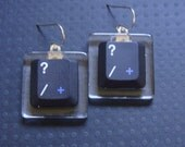 Silicon Gallies - Next Generation Acrylic Tile Earrings - Black Laptop Computer Key - QUESTION MARK Key