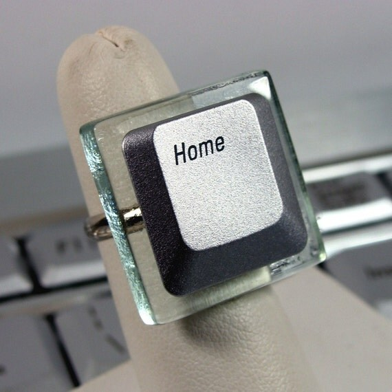 Silicon Gallies - Next Generation Glass Tile - Silver Laptop Computer Key on Adjustable Ring - HOME Key