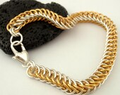 With Love Half Persian Chainmaille Bracelet  - 14kt Gold Filled and Sterling Silver