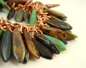 Shaggy Beaded Copper Bracelet - Exotic Tones - Ready to Ship