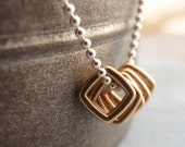 Sterling Silver and Bronze Necklace - Hip To Be Square - unkamengifts