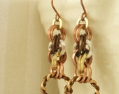 Square Spiral Earrings - Non Tarnish Mixed Metals Chainmaille