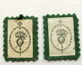 Vintage Scapular Immaculate Heart of Mary Panels
