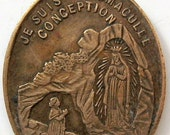 Antique Religious Medal Lourdes Grotto France Immaculate Conception 1800s
