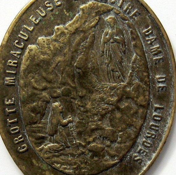 Apparition at Lourdes. Virgin Mary Large French Brass Medal 1800s