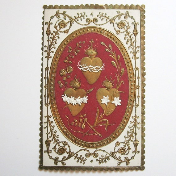 1879 Date Antique French Three Sacred Hearts Holy Card.  Communion Souvenir