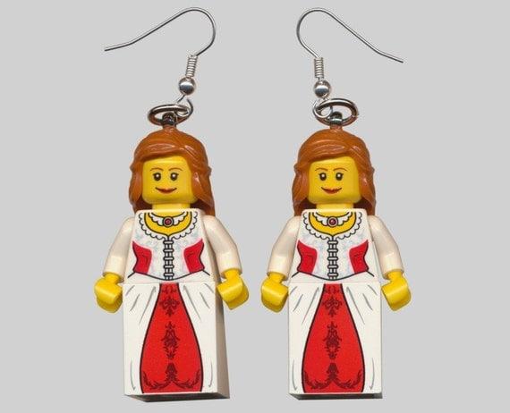 Medieval princess Lego earrings