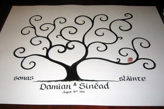 CUSTOM ORDER  - Damian & Sinéad - Original Hand-painted Wedding Guest Fingerprint Tree