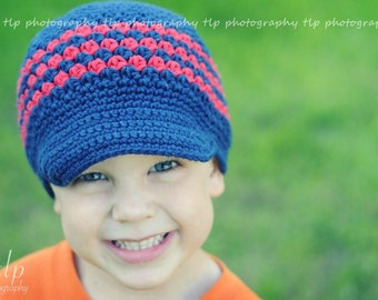 "Crocheted Newsboy ""The Annikan""  Hat Visor Beanie Navy Red"