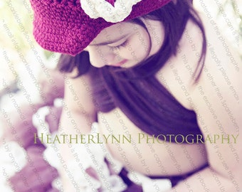 "Newsboy Hat Crocheted ""The Harper"" Burgundy Ecru Visor Beanie Brimmed Hat Flower Accent"