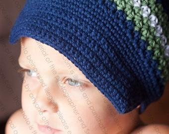 "Newsboy Hat  Crocheted ""The Matthew""  Navy Sage White Brimmed Beanie Visor Stripes"