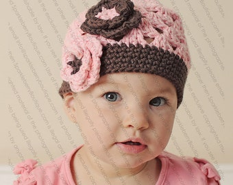 "Beanie Hat Crocheted  ""The Jade"" Baby Pink Chocolate Modern Trendy Flowers Choose your size"