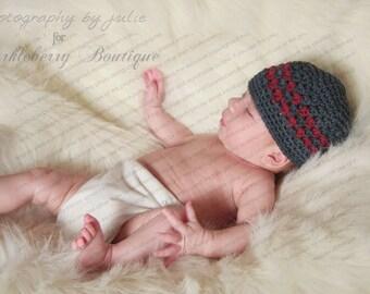 "Crocheted Beanie Hat ""The Ethan"" Charcoal Grey Burgundy"