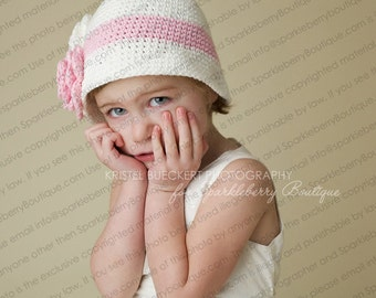 """Cloche Hat """"The Avery"""" Crocheted Ivory Country Wine Pastel Pink"""