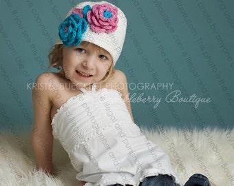 "Crocheted Cloche hat ""The Odessa"" White Classic Bucket Hat Mod Pink/Mod Blue Bright Summer"