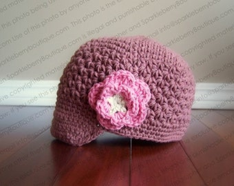 "Newsboy Hat Crocheted ""The Raya"" Brimmed Hat Flower Visor Beanie"