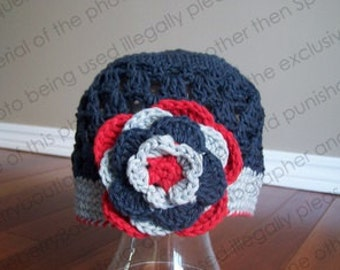 Beanie Hat Crocheted Jets Indigo Silver Grey Red NHL Hockey Choose Your Size