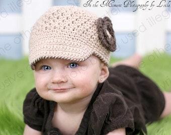 "Newsboy Hat Crocheted ""The Sahara"" Jute Chocolate Ecru  Neutral Basic Fall Brimmed Hat"