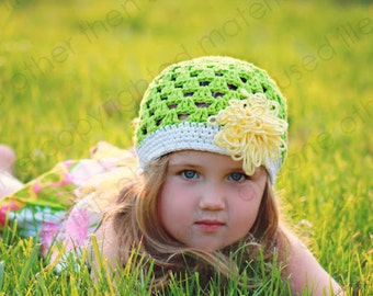 """Beanie Hat Crocheted """"The Tiffany Marie"""" Grass, White, Pale Yellow  Colorful Trim Loopy Flower"""
