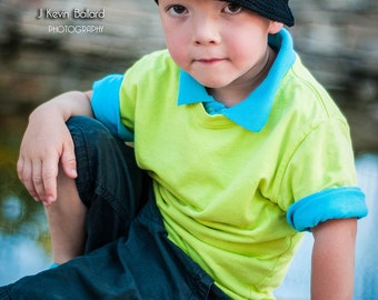"""Crocheted Newsboy """"The Cory"""" Hat Black, Hot Blue, Hot Green, Trendy Brimmed Hat Photo Prop"""