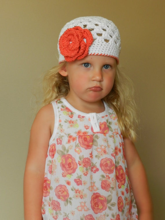Crocheted Beanie Hat White, Persimmon,Flowers Trim DaintyToddler, Baby, Teen
