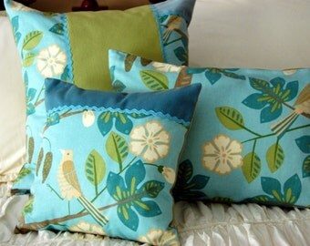 Tropical Rainforest Pillow Set / Turquoise, Lime, Aqua / beach house pillow / coastal home decor / whimsical bedding / Caribbean bird pillow