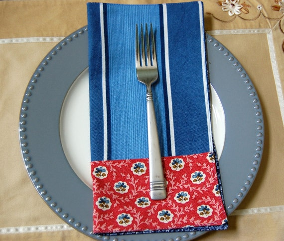 Navy Blue & Red Classic Lunch Cloth Napkin Set