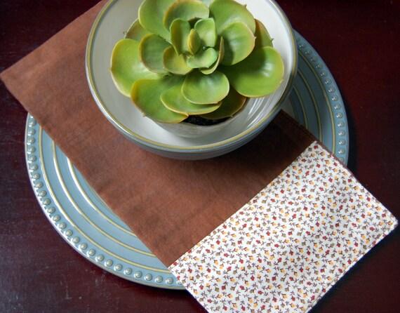 Chocolate Brown Reversible Fall Cloth Napkins / eco cotton neutral napkin / earth tones autumn / rustic Thanksgiving napkin / vintage fabric
