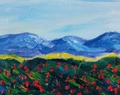 ACEO Original Oil Landscape Mountain Poppies