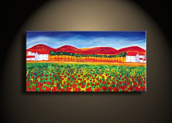 Reserved forstephencarow  Poppy Landscape Original Sides Painted 36x18 Red and Green