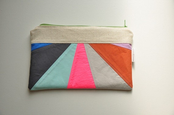 Colored Horizon Zipper Clutch