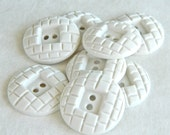 "Vintage Buttons-Set of Eight 1930s White Plastic Buttons-7/8""-VW14"