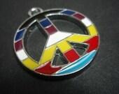 PEACE retro symbol pendant  charm multi coloured