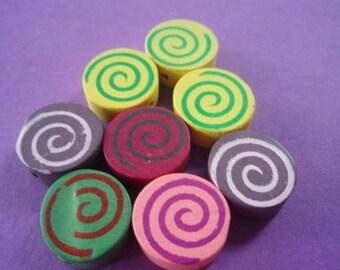 8 lollipop wooden beads ON SALE