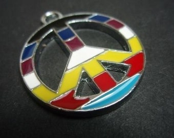 PEACE retro symbol pendant  charm multi coloured