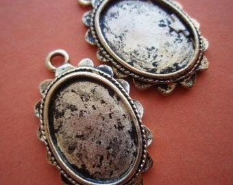 antiqued gold tone cameo settings pendants x 4