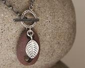 SALE rockin red heart beach stone pendant