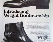 Vintage Ad Wright Boot mens shoes 1969 broad toe swash buckeled high rise retro mens footwear